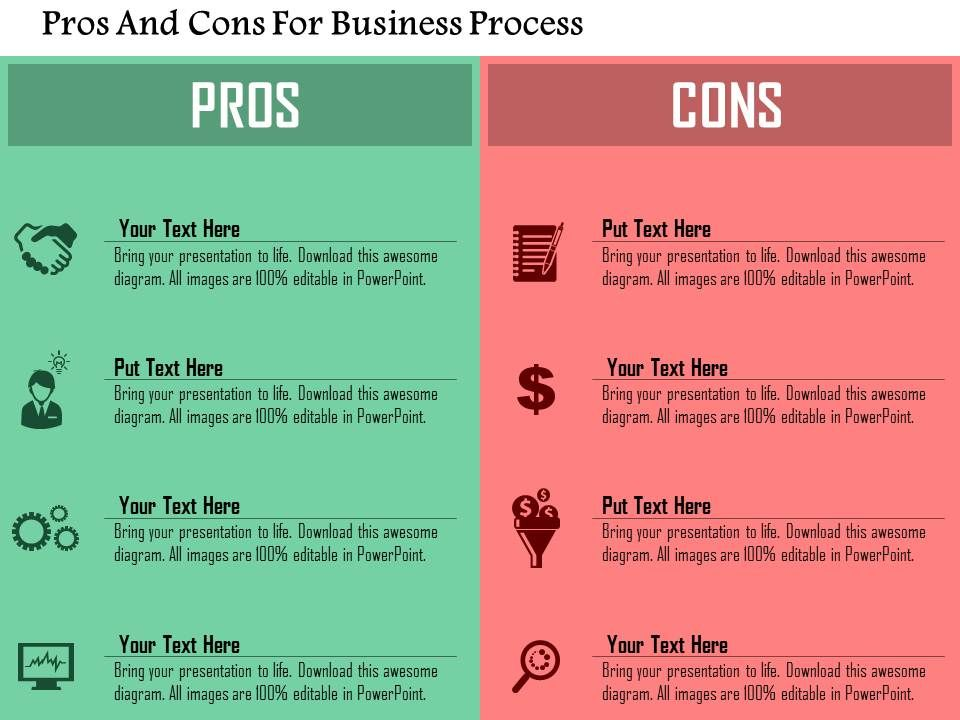 Pros and cons for business process flat powerpoint design for Pros and cons matrix template