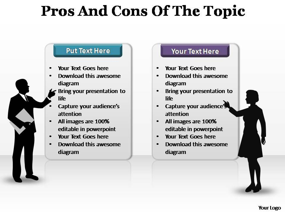Winning management slides showing pros and cons of the topic editable