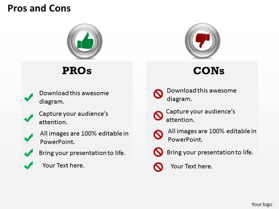 pros and cons powerpoint template slide | powerpoint presentation, Powerpoint templates