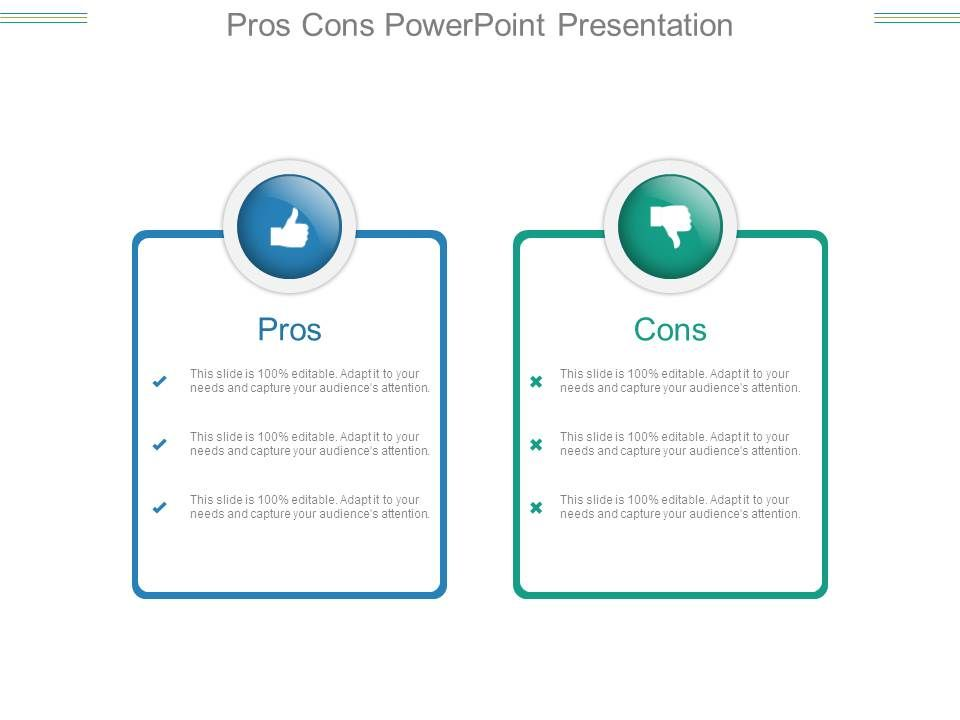 Pros cons powerpoint presentation presentation for Pros and cons matrix template
