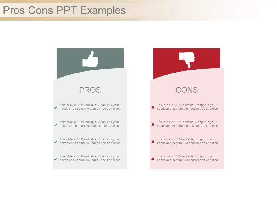 pros cons ppt examples | powerpoint design template | sample, Powerpoint templates