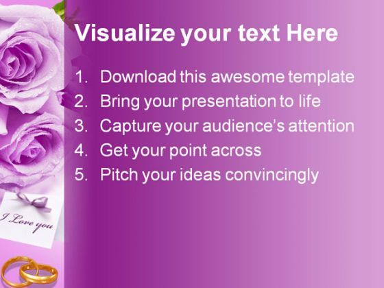 Purple Rose Wedding Powerpoint Template 0610 | Powerpoint Slide