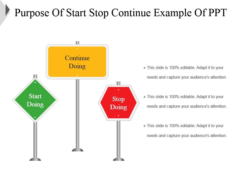 92873257 style variety 1 traffic 3 piece powerpoint for Start stop continue template