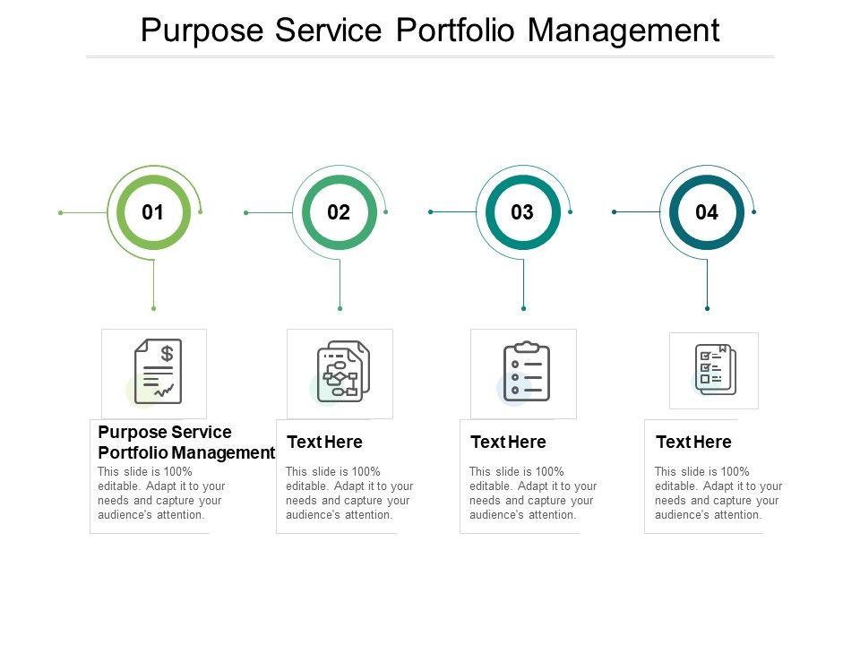 Purpose Service Portfolio Management Ppt Powerpoint Presentation Good Cpb