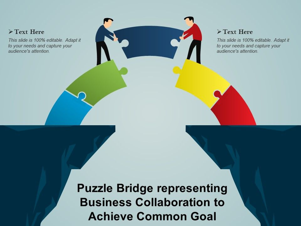 Puzzle Bridge Representing Business Collaboration To Achieve Common Goal