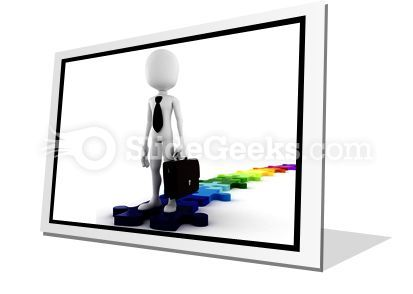 Businessman Standing On Puzzles PowerPoint Icon F  Presentation Themes and Graphics Slide01
