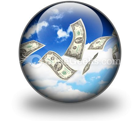 Dollar Bills Fly In Flocks PowerPoint Icon C  Presentation Themes and Graphics Slide01