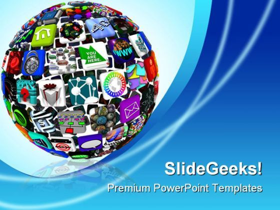App Icons In A Sphere Communication PowerPoint Backgrounds And Templates 1210  Presentation Themes and Graphics Slide01