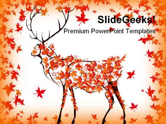 Autumn Deer Nature PowerPoint Backgrounds And Templates 0111  Presentation Themes and Graphics Slide01