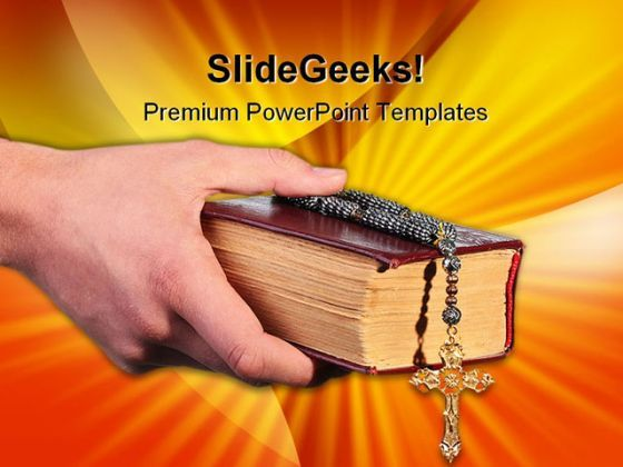 Bible With Cross Religion PowerPoint Templates And PowerPoint Backgrounds 0211  Presentation Themes and Graphics Slide01