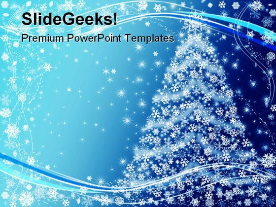 Blue Christmas Tree Background PowerPoint Templates And PowerPoint Backgrounds 0611  Presentation Themes and Graphics Slide01