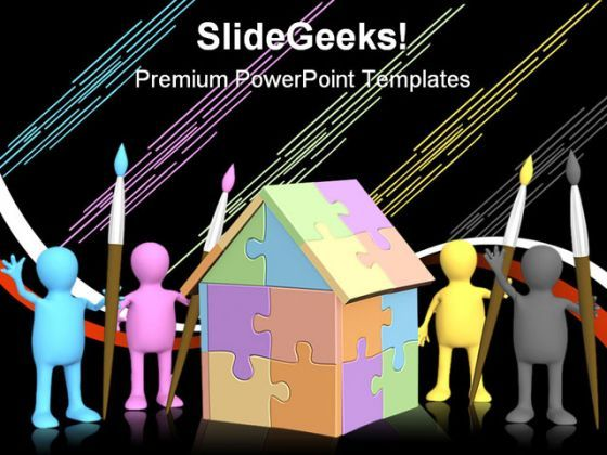 Cmyk Home Puzzle Construction PowerPoint Backgrounds And Templates 1210  Presentation Themes and Graphics Slide01