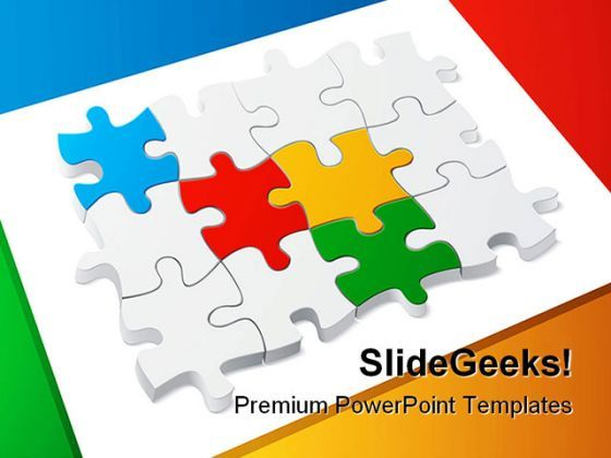 Colored Puzzle Teamwork PowerPoint Templates And PowerPoint Backgrounds 0211  Presentation Themes and Graphics Slide01