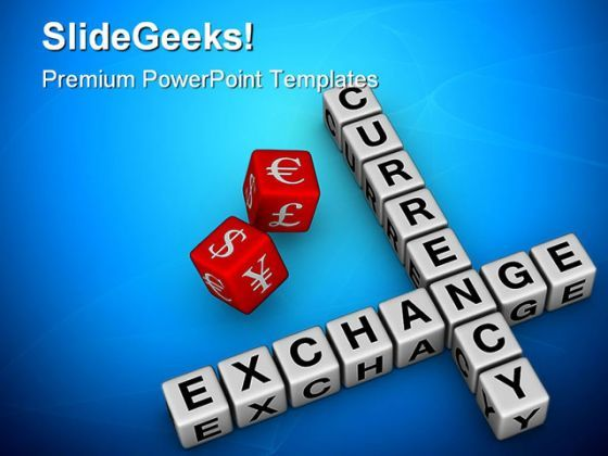Currency Exchange Dice Business PowerPoint Backgrounds And Templates 1210  Presentation Themes and Graphics Slide01