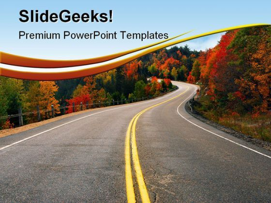 Fall Highway Nature PowerPoint Templates And PowerPoint Backgrounds 0511  Presentation Themes and Graphics Slide01