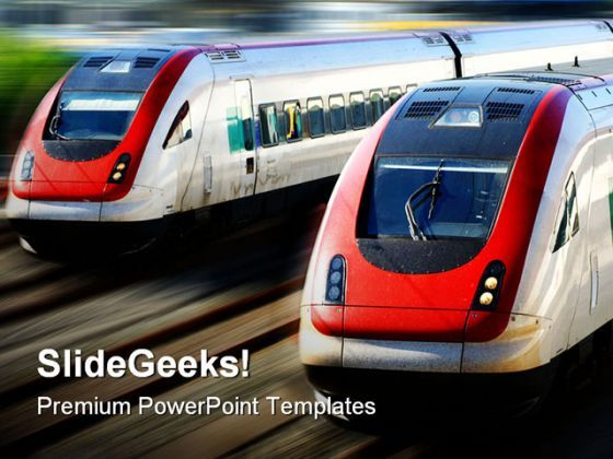 Fast Speed Trains Transportation PowerPoint Background And Template 1210  Presentation Themes and Graphics Slide01