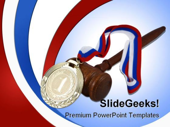Gold Medal And Judge Gavel Law PowerPoint Background And Template 1210  Presentation Themes and Graphics Slide01