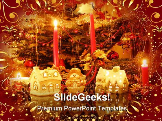 Golden Decorations Christmas Holidays PowerPoint Background And Template 1210  Presentation Themes and Graphics Slide01