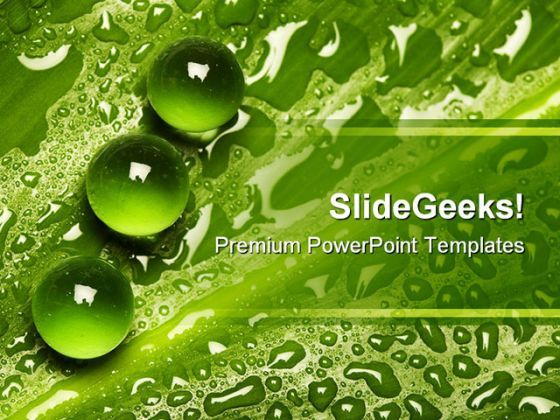 Green Pearl Drops Nature PowerPoint Background And Template 1210  Presentation Themes and Graphics Slide01