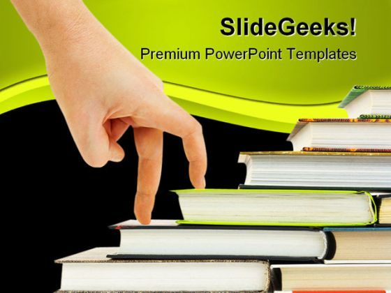 Hand And Book Stairs Education PowerPoint Backgrounds And Templates 1210  Presentation Themes and Graphics Slide01