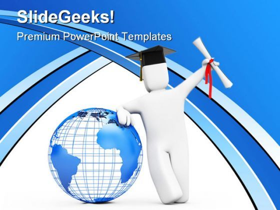 Happy Graduate Globe PowerPoint Background And Template 1210  Presentation Themes and Graphics Slide01