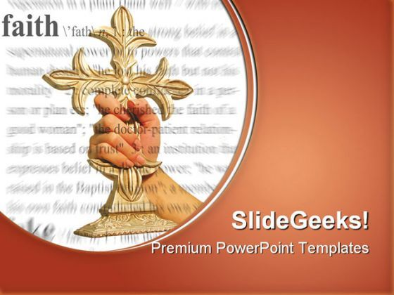 Holding Cross Faith Religion PowerPoint Templates And PowerPoint Backgrounds 0211  Presentation Themes and Graphics Slide01