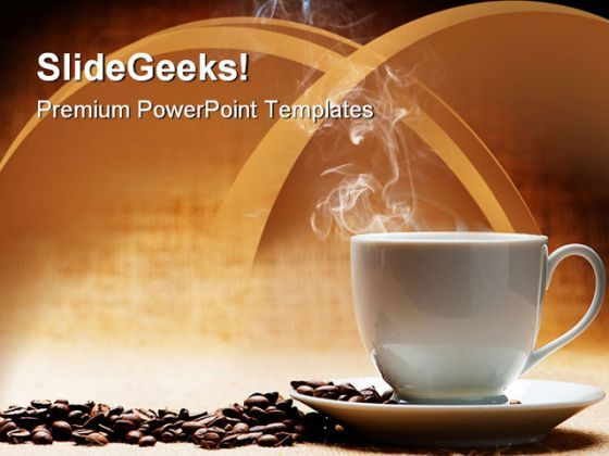 Hot Coffee With Beans Food PowerPoint Templates And PowerPoint Backgrounds 0311  Presentation Themes and Graphics Slide01