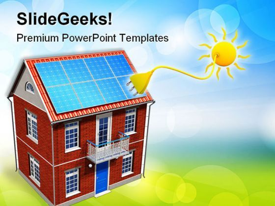 House With Solar Batteries Environment PowerPoint Templates And PowerPoint Backgrounds 0411  Presentation Themes and Graphics Slide01