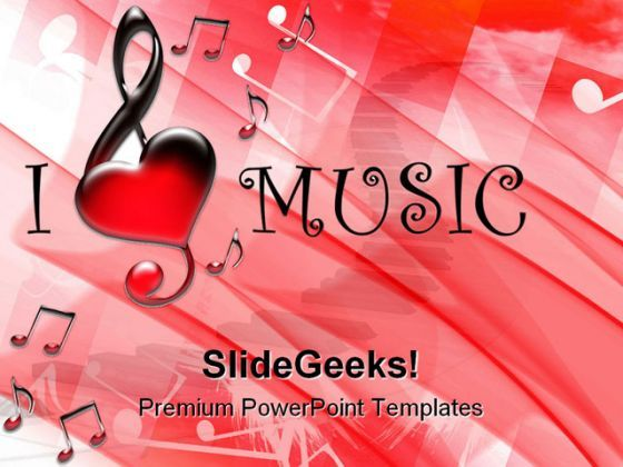 I Love Music Symbol PowerPoint Backgrounds And Templates 1210  Presentation Themes and Graphics Slide01