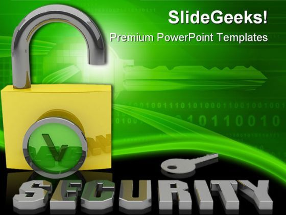 Key Padlock Security PowerPoint Templates And PowerPoint Backgrounds 0211  Presentation Themes and Graphics Slide01