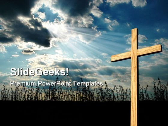 Light Shining On Cross Religion PowerPoint Templates And PowerPoint Backgrounds 0711  Presentation Themes and Graphics Slide01