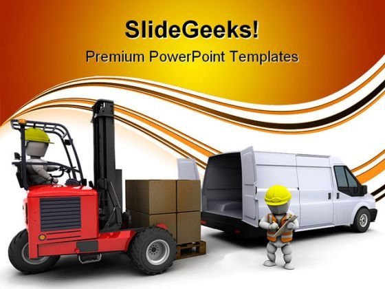 Man In Forklift Truck Industrial PowerPoint Templates And PowerPoint Backgrounds 0311  Presentation Themes and Graphics Slide01
