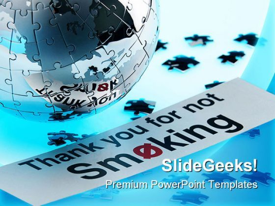 Not Smoking Globe PowerPoint Template 1110  Presentation Themes and Graphics Slide01
