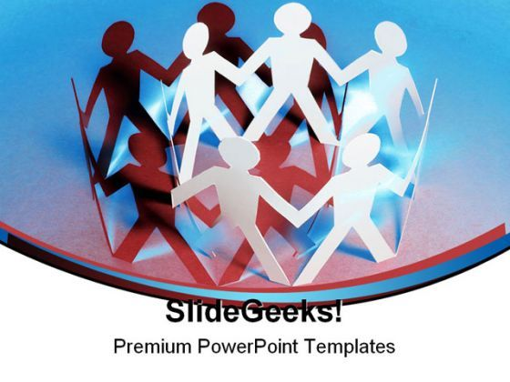 Paper Chain Dolls Teamwork PowerPoint Background And Template 1210  Presentation Themes and Graphics Slide01