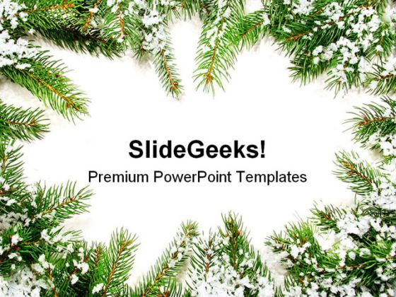 Pine Frame Christmas PowerPoint Background And Template 1210  Presentation Themes and Graphics Slide01