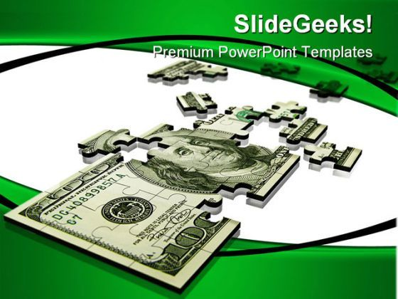 Puzzle Dollar Money PowerPoint Background And Template 1210  Presentation Themes and Graphics Slide01