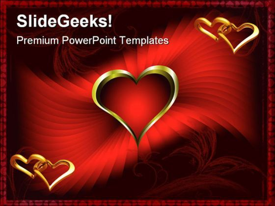 Red Abstract And Golden Hearts Beauty PowerPoint Background And Template 1210  Presentation Themes and Graphics Slide01