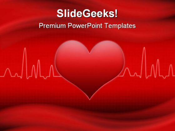 Red Cardiogram Heart Medical PowerPoint Backgrounds And Templates 1210  Presentation Themes and Graphics Slide01