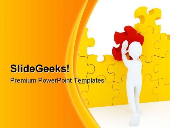 Red Puzzle Piece Business PowerPoint Background And Template 1210  Presentation Themes and Graphics Slide01