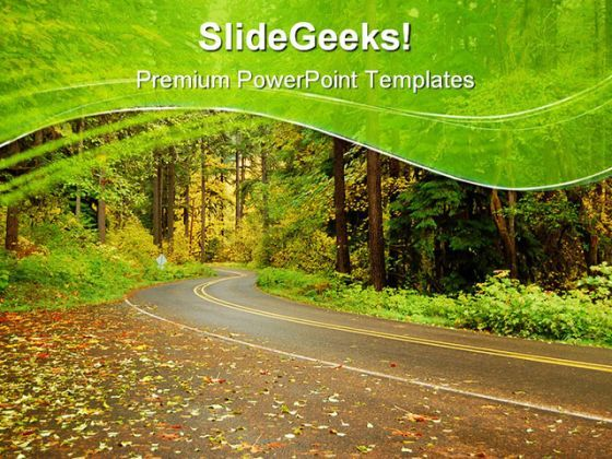 Road In Autumn Nature PowerPoint Templates And PowerPoint Backgrounds 0811  Presentation Themes and Graphics Slide01