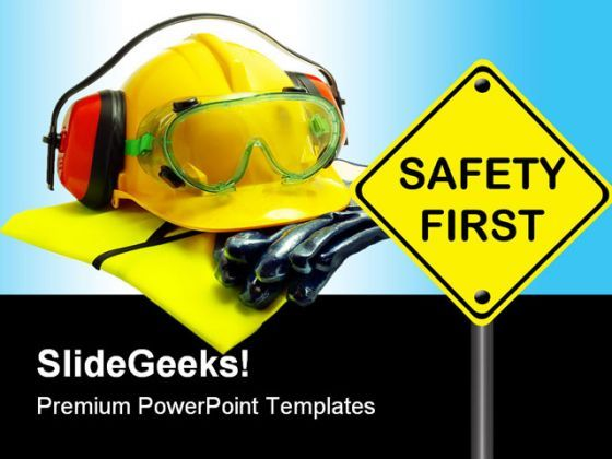 Safety First Construction PowerPoint Backgrounds And Templates 1210  Presentation Themes and Graphics Slide01