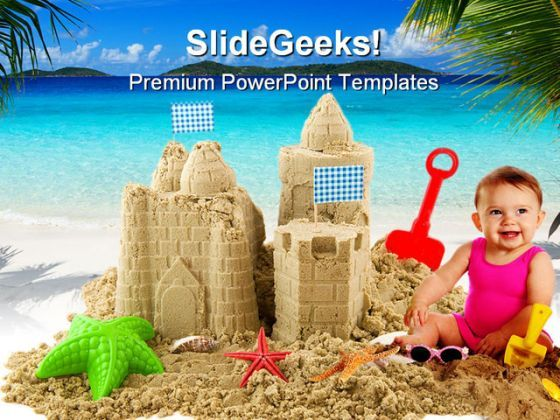 Sandcastle Beach PowerPoint Backgrounds And Templates 0111  Presentation Themes and Graphics Slide01