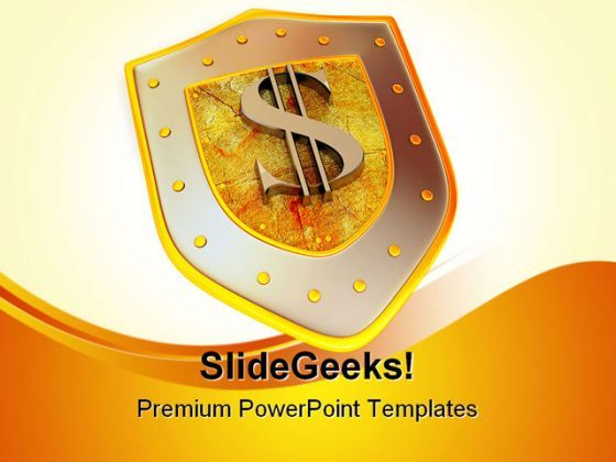 Shield Dollar Business PowerPoint Background And Template 1210  Presentation Themes and Graphics Slide01