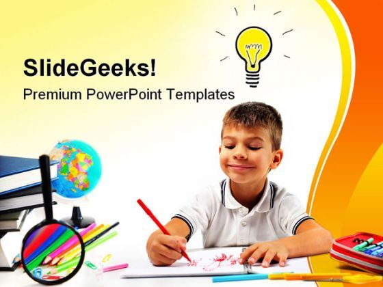 Smiling Child Having An Idea Education PowerPoint Templates And PowerPoint Backgrounds 0311  Presentation Themes and Graphics Slide01