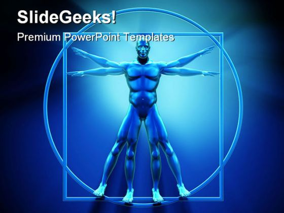 Vitruvian Man Technology PowerPoint Backgrounds And Templates 1210  Presentation Themes and Graphics Slide01