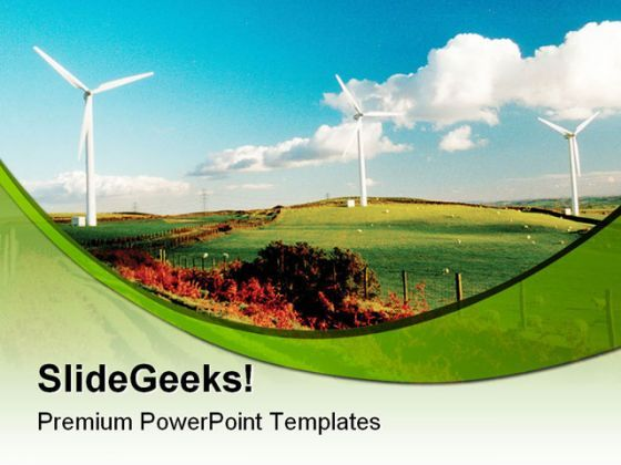 Wind Farm Nature PowerPoint Templates And PowerPoint Backgrounds 0211  Presentation Themes and Graphics Slide01