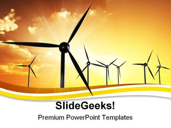 Wind Turbines01 Sunset PowerPoint Templates And PowerPoint Backgrounds 0211  Presentation Themes and Graphics Slide01