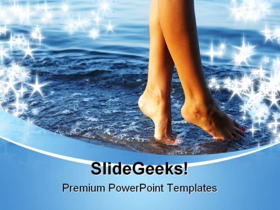 Woman On Beach PowerPoint Background And Template 1210  Presentation Themes and Graphics Slide01