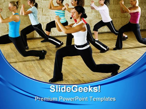 Women At Fitness Club Health PowerPoint Templates And PowerPoint Backgrounds 0611  Presentation Themes and Graphics Slide01