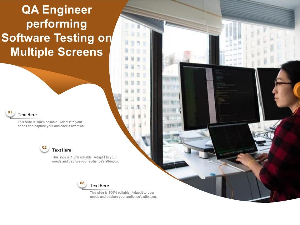Qa Engineer Performing Software Testing On Multiple Screens Powerpoint Slides Diagrams Themes For Ppt Presentations Graphic Ideas
